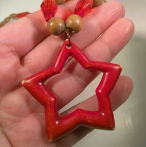 Jewelry - Red Star Beaded Necklace plastic and Wood